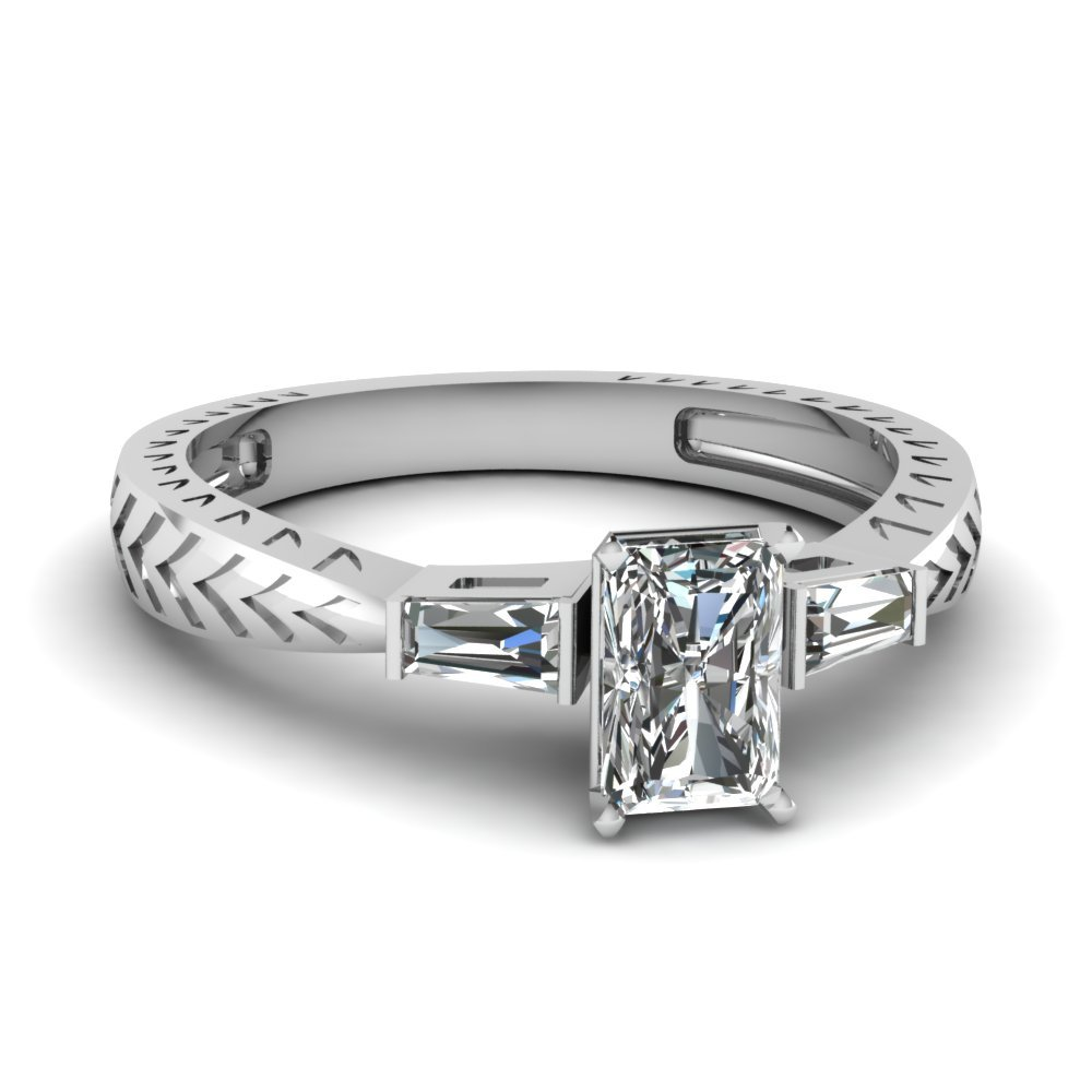 Tapered Vintage 3 Stone Radiant Engagement Ring In 14K White Gold