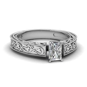 Vintage Radiant Solitaire Diamond Ring In 14K White Gold