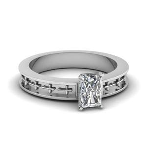 Cross Engraved Radiant Cut Solitaire Engagement Ring In 14K White Gold