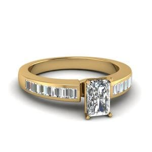 Radiant Diamond Ring With Baguette