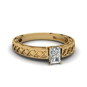 Carved Infinity Radiant Cut Solitaire Engagement Ring In 14K Yellow Gold