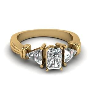 Trillion 3 Stone Radiant Diamond Engagement Ring In 14K Yellow Gold