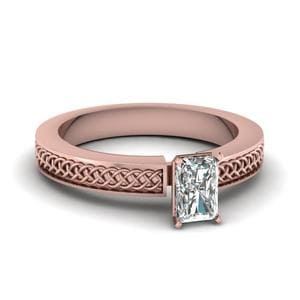 Weaved Design Radiant Cut Solitaire Engagement Ring In 18K Rose Gold