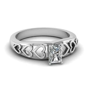 Single Radiant Cut Heart Design Ring