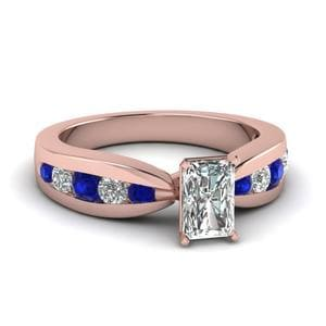Tapered Channel Set Radiant Diamond Engagement Ring With Sapphire In 14K Rose Gold