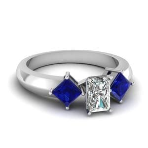 Kite Set 3 Stone Radiant Cut Engagement Ring With Sapphire In 14K White Gold