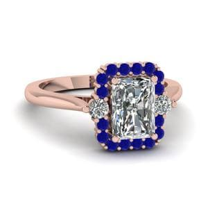 Sapphire Halo Petite Engagement Ring
