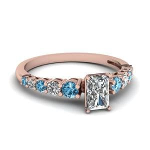Graduated Radiant Diamond Ring With Blue Topaz In 14K Rose Gold