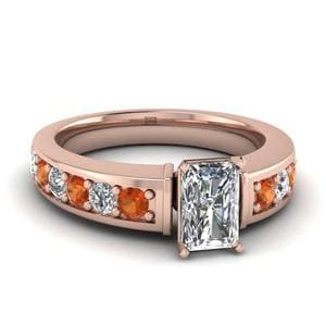 Radiant Cut Diamond Engagement Ring With Orange Sapphire In 14K Rose Gold