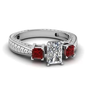 Radiant Cut Vintage 3 Stone Diamond Ring With Ruby In 14K White Gold