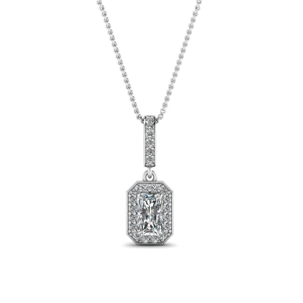 Radiant Cut Diamond Fancy Pendant In 18K White Gold