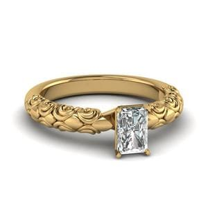 Radiant Cut Diamond Filigree Accent Solitaire Engagement Ring In 14K Yellow Gold