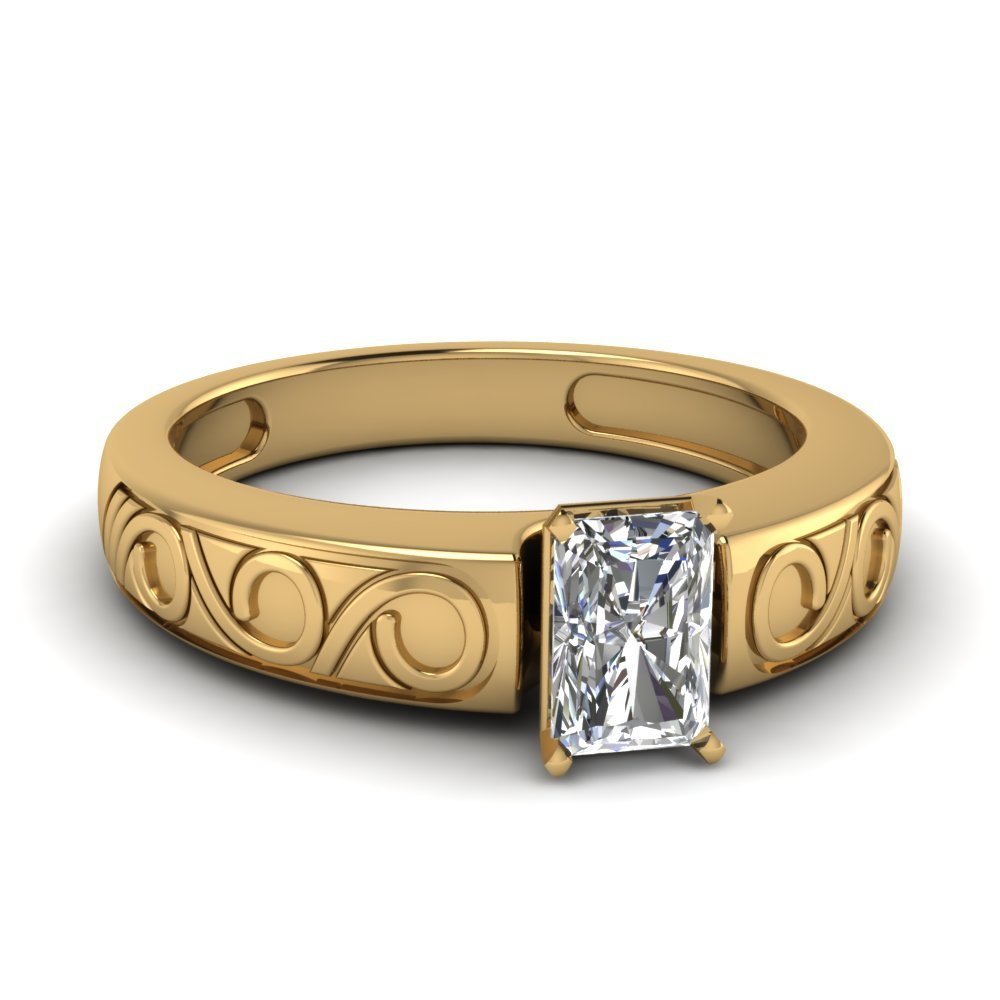 Radiant Cut Filigree Solitaire Ring In 14K Yellow Gold
