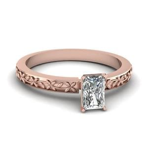 Floral Engraved Radiant Diamond Solitaire Ring In 14K Rose Gold
