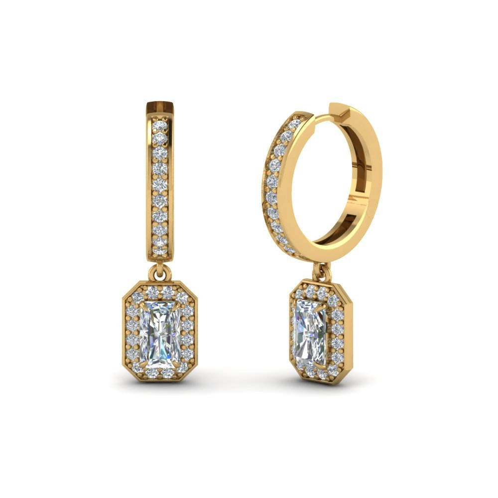 Radiant Cut Diamond Hoop Earrings In 14K Yellow Gold