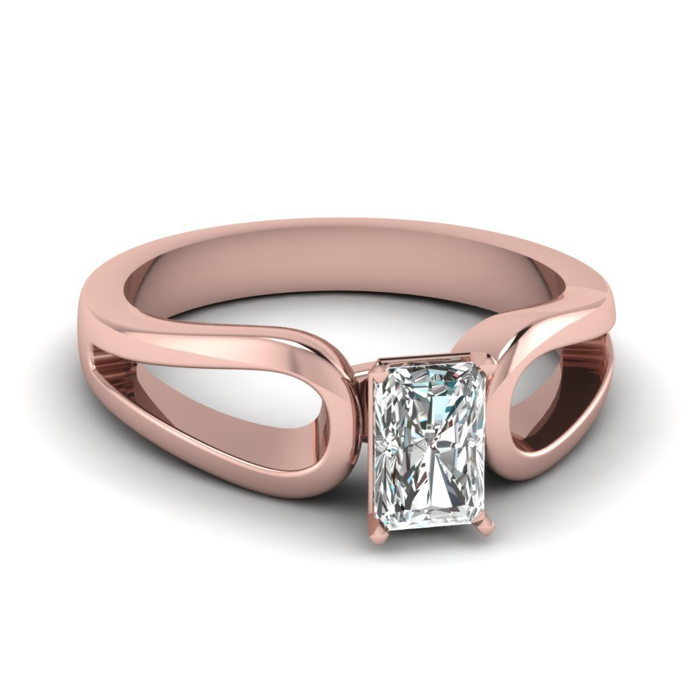 Radiant Cut Diamond Loop Duet Soltaire Ring In 14K Rose Gold