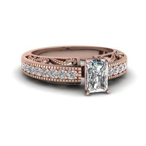 Radiant Cut Diamond Milgrain Paisley Side Stone Ring In 14K Rose Gold