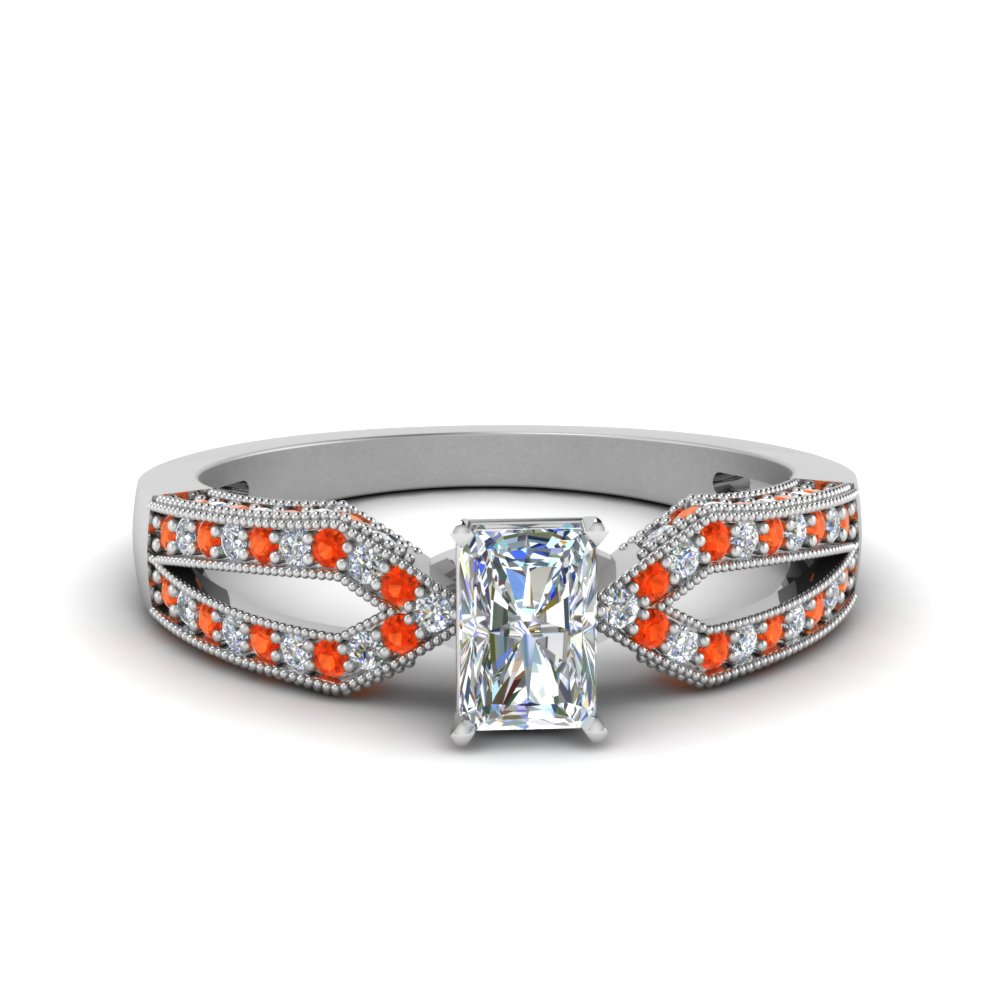 Antique Split Pave Radiant Cut Diamond Engagement Ring With Orange Topaz In 18K White Gold