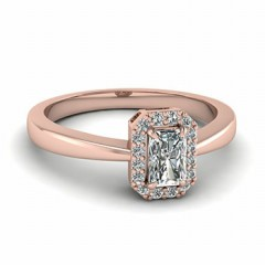 Radiant Cut Diamond Squircle Halo Engagement Ring In 14K Rose Gold