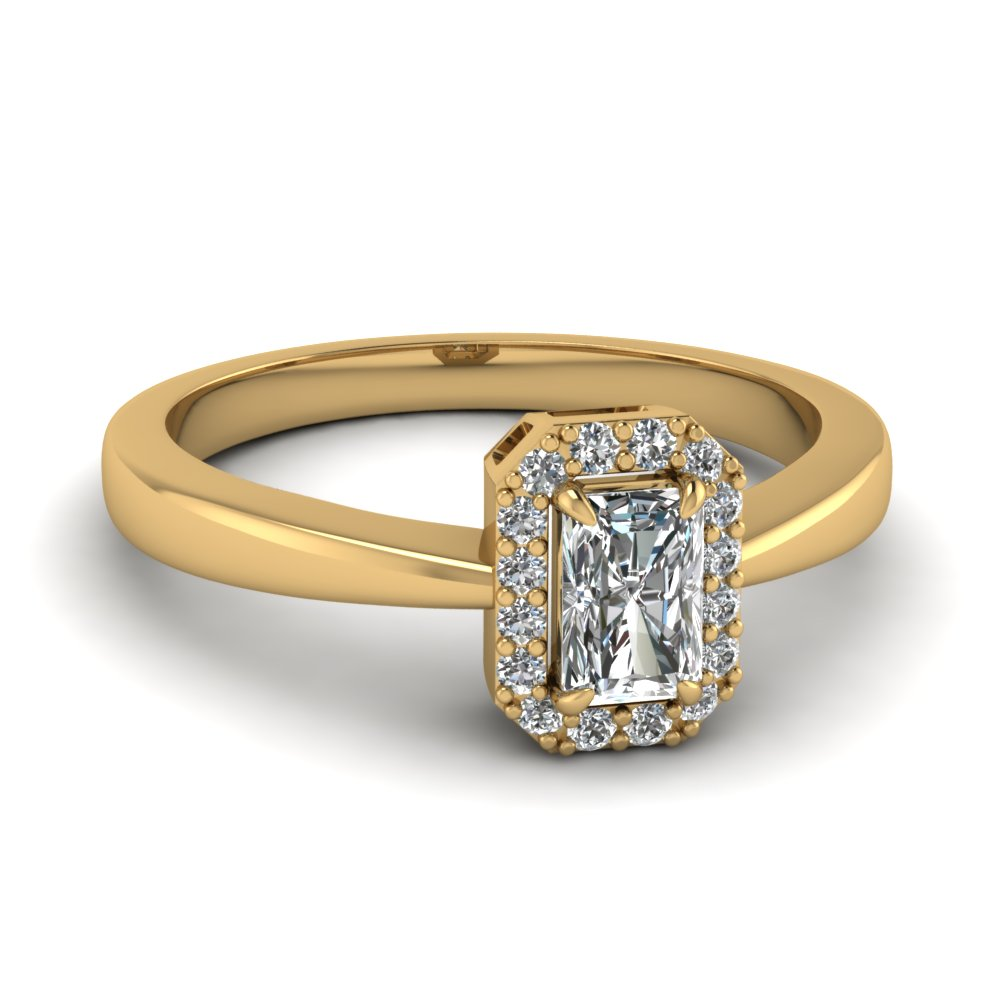 Delicate Radiant Cut Halo Diamond Engagement Ring In 14K Yellow Gold