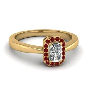 Plain Shank Halo Ruby Ring