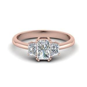 14K Rose Gold Radiant Cut Diamond Ring