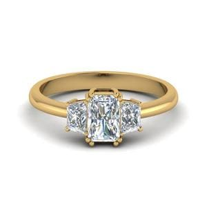 14K Yellow Gold 3 Stone Engagement Ring