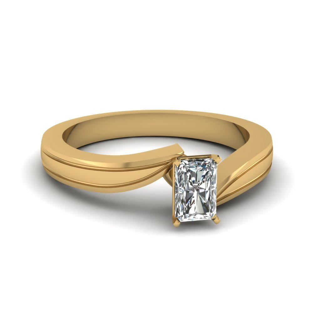 Radiant Cut Diamond Twisted Solitaire Engagement Ring In 14K Yellow Gold