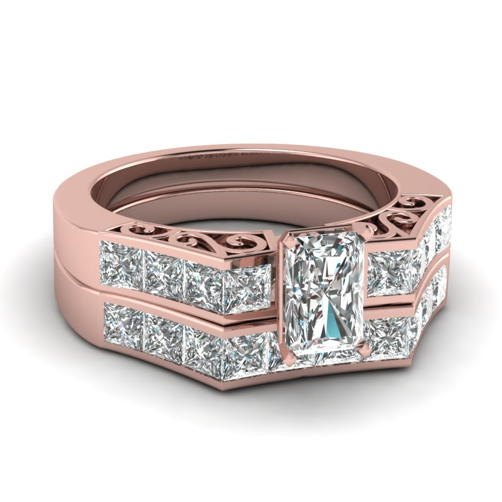 Channel Diamond Radiant Cut Vintage Bridal Set In 14K Rose Gold