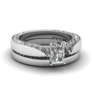 Engraved Solitaire Bridal Set