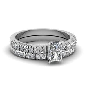 French Pave Radiant Cut Diamond Petite Bridal Ring Set In 14K White Gold