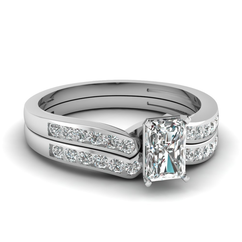 Radiant Cut Diamond Channel Bridal Set In 18K White Gold