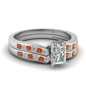 Orange Sapphire Channel Diamond Set