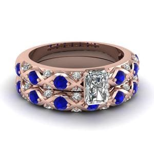 Criss Cross Sapphire Wedding Set