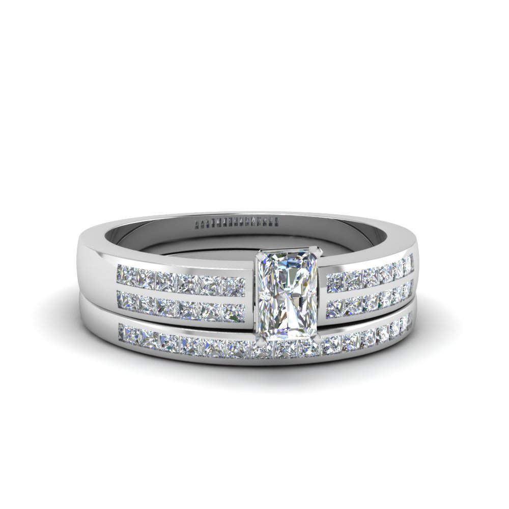 Radiant Cut Double Row Channel Diamond Wide Bridal Set In 950 Platinum