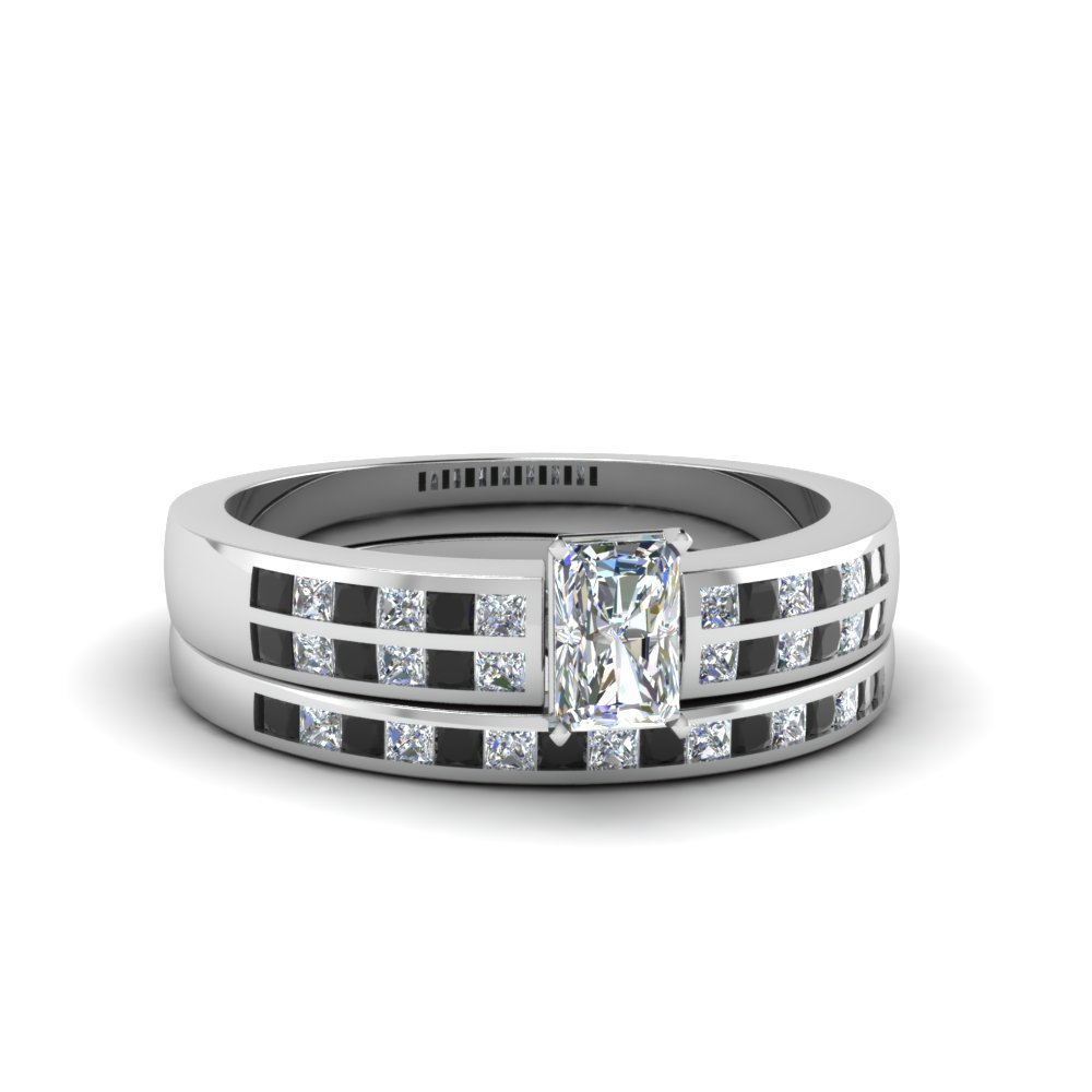 Radiant Cut Double Row Channel Wide Bridal Set With Black Diamond In 18K White Gold