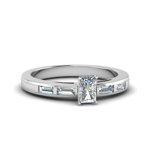 5 Stone Diamond Ring In White Gold