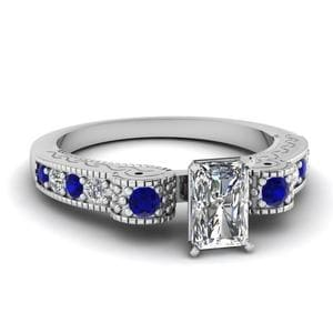 Engraved Antique Pave Radiant Cut Diamond Engagement Ring With Sapphire In 14K White Gold