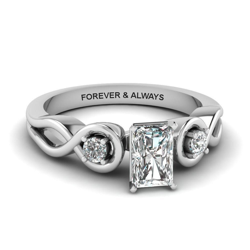 Radiant Cut Engraved Three Stone Diamond Engagement Ring In 950 Platinum