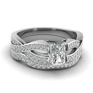 Radiant Cut Entwined Pave Diamond Bridal Set In 14K White Gold