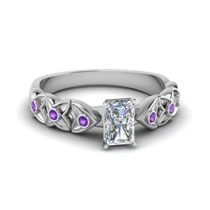 Floral Accent Purple Topaz Ring