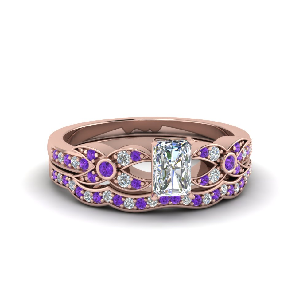 Purple Topaz Flower Pave Wedding Set