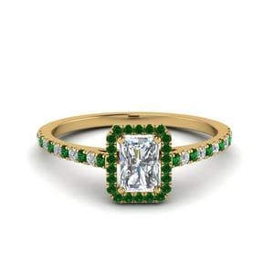 Petite Band Halo Emerald Ring