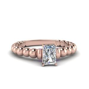 Radiant Cut Gold Bead Solitaire Diamond Engagement Ring With Violac Topaz In 14K Rose Gold