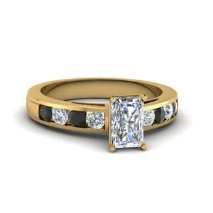 Timeless Channel Radiant Ring With Black Diamond In 14K Yellow Gold