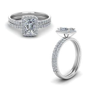 Radiant Cut Halo Diamond Bridal Set
