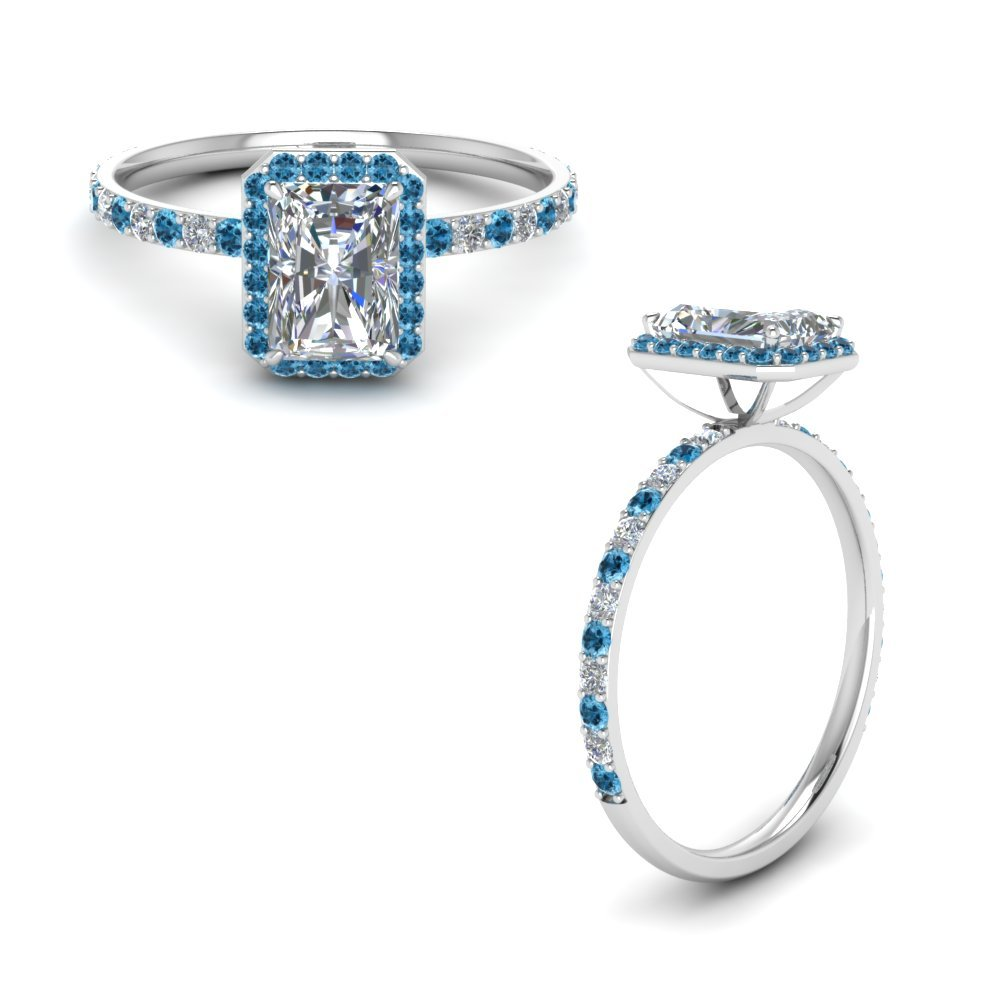 Radiant Cut Halo Diamond Engagement Ring With Blue Topaz In 950 Platinum