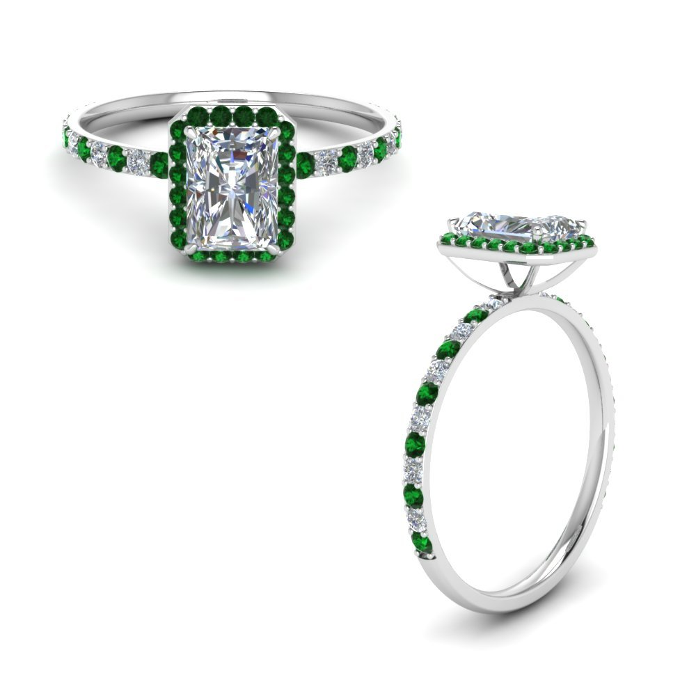 Radiant Cut Halo Diamond Engagement Ring With Emerald In 18K White Gold