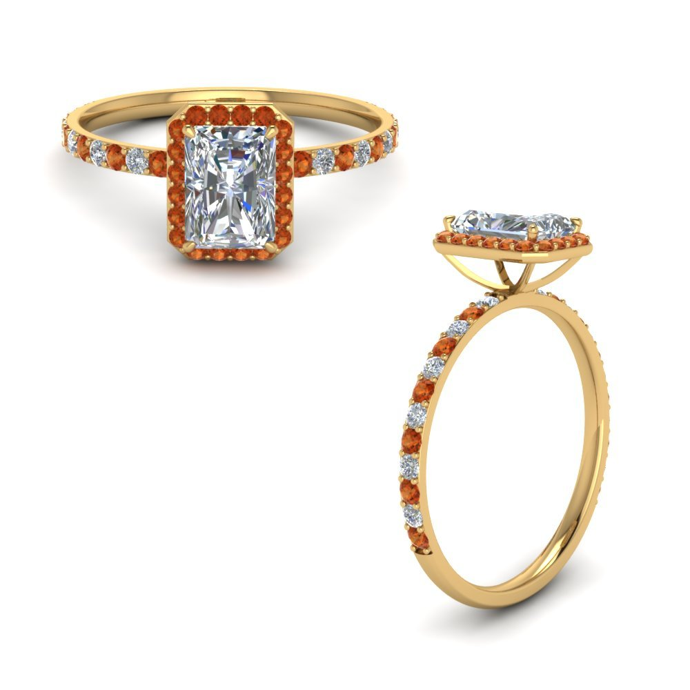 Radiant Cut Halo Diamond Engagement Ring With Orange Sapphire In 14K Yellow Gold