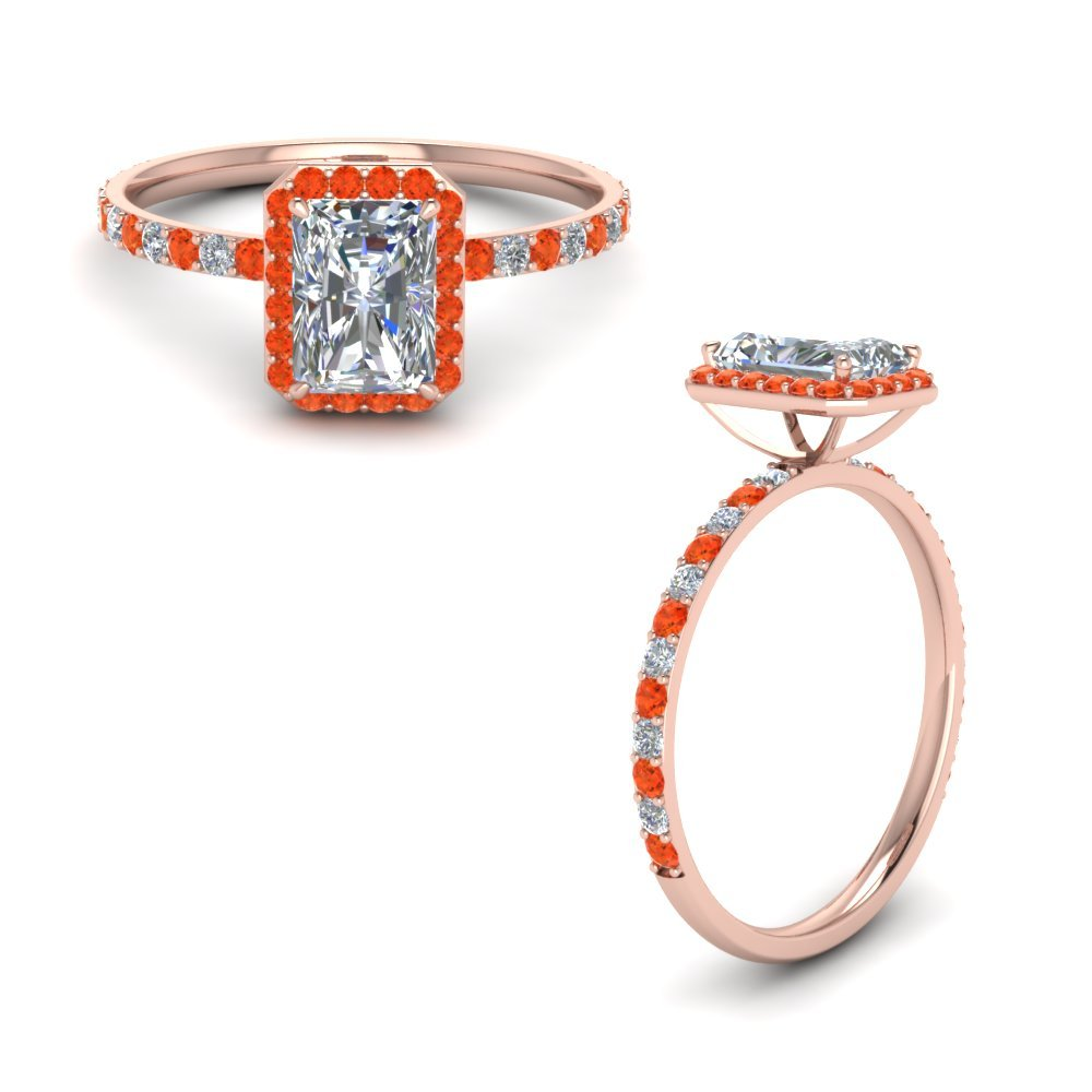 Radiant Cut Halo Diamond Engagement Ring With Orange Topaz In 14K Rose Gold